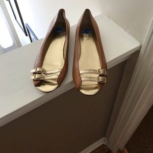 Michael Kors Brown & Gold Leather peep toe flats